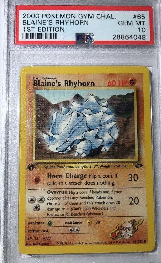 MINT Pokemon BLAINE/'S RHYHORN 65//132 Gym Challenge