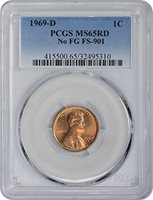 1969 D Lincoln No FG FS-901 Cent MS65RD PCGS