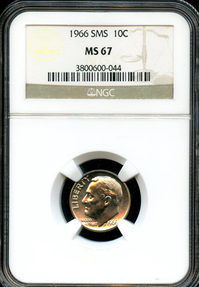 1966 SMS  Roosevelt Dime  Grade MS66 by NGC ..