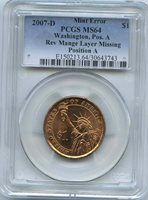 2007-D George Washington $1 Reverse Manganese Layer Missing PCGS MS-64 Reverse Manganese Layer Missing. Error Coins