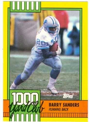 Barry Sanders Football Card 1990 Topps Rookie Card Detroit Lions 3 1000 Yard Club