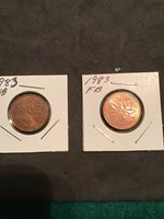 1983 Near Bead (key Date) And Far Bead 1 Cent pennies Shipped From canada.