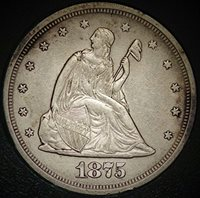 1875 S Seated Liberty Twenty Cent Piece 1975-S/S MS-63 DISCOVERY ERROR COIN ( S/S MINT MARK & MAJOR DIE BREAK REVERSE ) Seated Liberty Twenty Cent Piece Twenty Cent Piece MS-63 Fiduciary Grading & Attribution