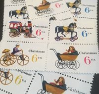 10 Vintage Christmas Stamps...Christmas Toys... Dress Up Your Mail