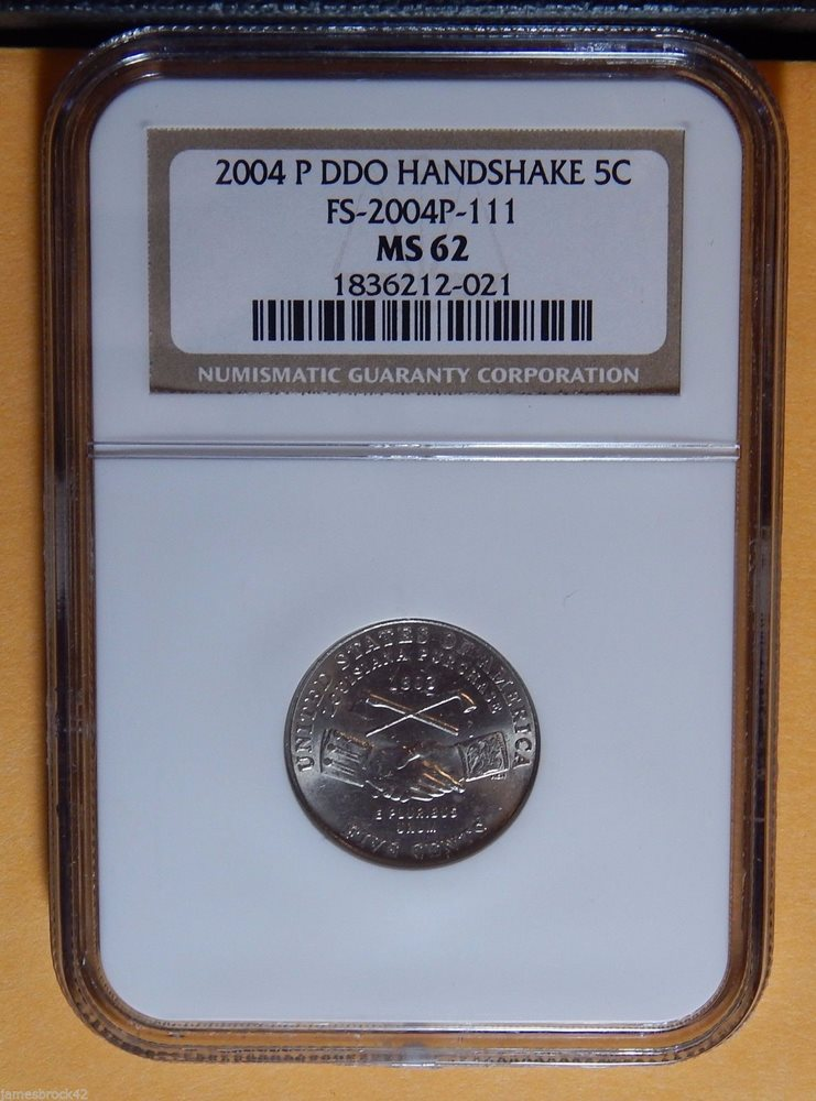 2004 DDO Doubled Die Error Jefferson Nickel NGC MS62 Certified FS-2004P-111  1377