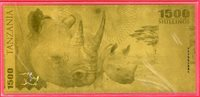 1500 Shilling 2018 Tanzania Eine gold-banknote Nashorn aus der Big Five Serie