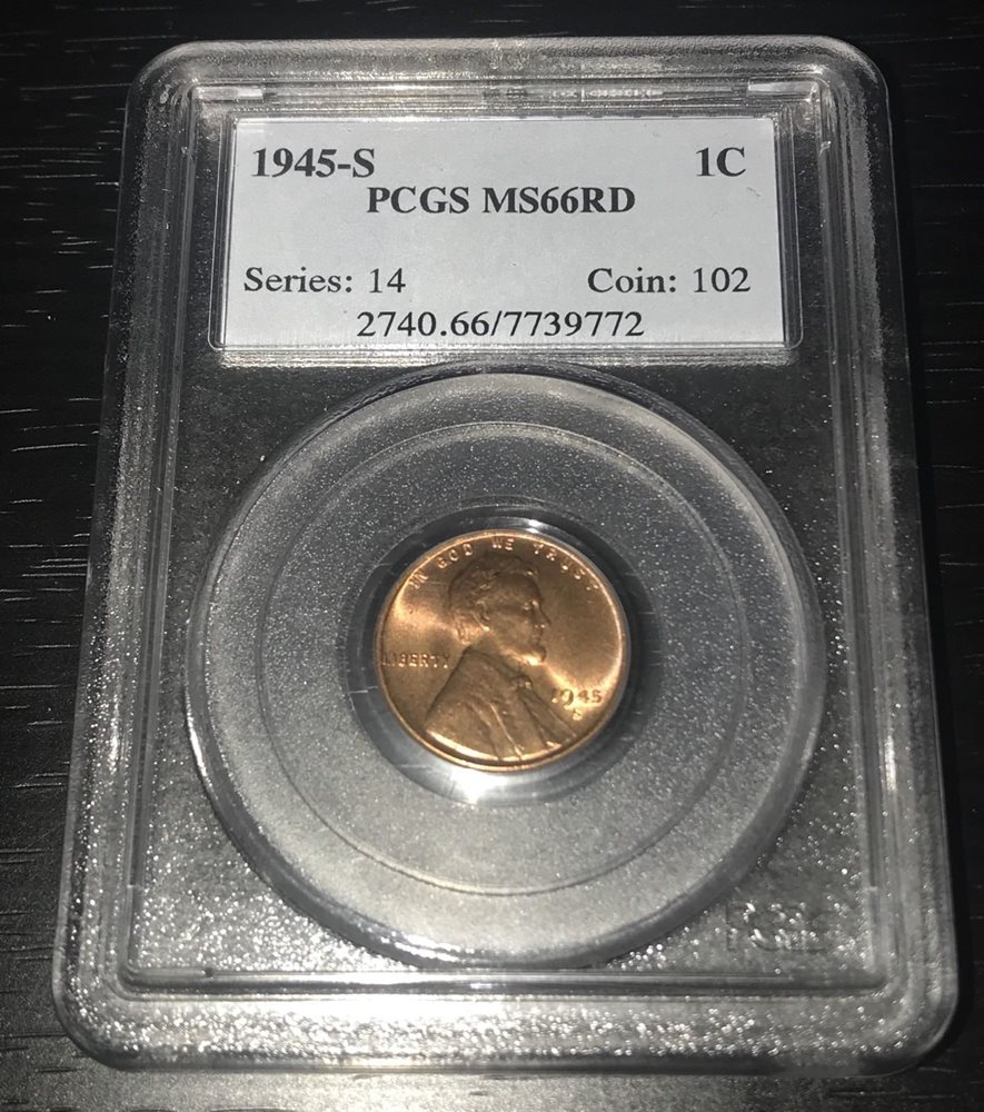 PCGS 1945-S Lincoln Cent MS66+RD