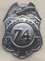 Circa 1950 US Marine Corps Air Station (Cherry Point) Crash Crew Badge