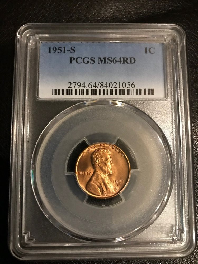 1951-S Wheat Penny Uncirculated Graded PCGS MS-64RD No