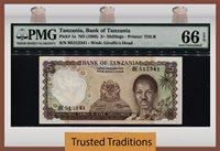 1966 Tanzania 5/ Shillings J Nyerere Pmg 66 Epq Gem Pop 9 None Finer