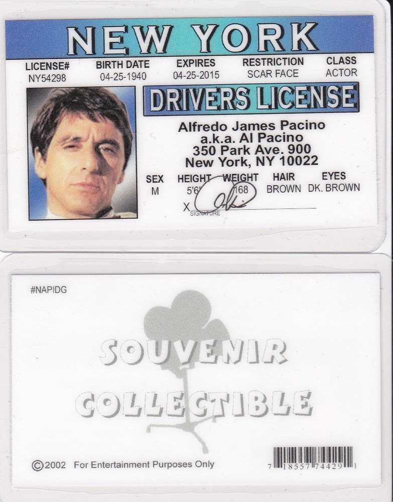 Fake Ny New Pacino Card City York Id Drivers Al License