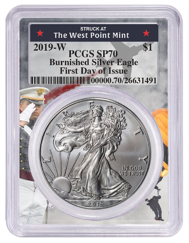 First Day Issue Label 2019 W Burnished Silver Eagle PCGS SP70