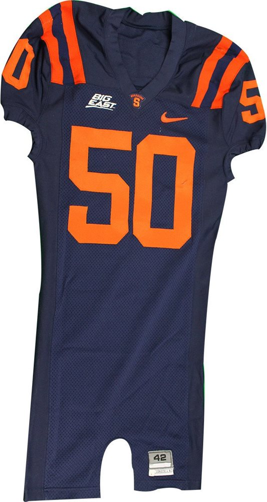 sale retailer 83f56 9608e #50 Mele Syracuse 2007 Game Used Navy Football Jersey