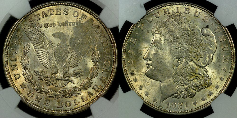 1921 NGC MS{61} Error Coins THIS LUSTROUES MORGAN DOLLAR ERROR IS STRUCK  THRU GREASE WHICH OBLITERATES THE EAGLES' WING ON THE REVERSE