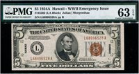 $5 1934A Hawaii Overprint F2302. PMG Choice Uncirculated 63 EPQ. Serial L68996528A.