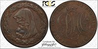 1787 Anglesey Penny Token, D&H 19, PCGS AU55BN