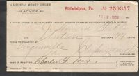 Jul 2 1903 US Postal Money Order Advice Philadelphia to Virginville PA