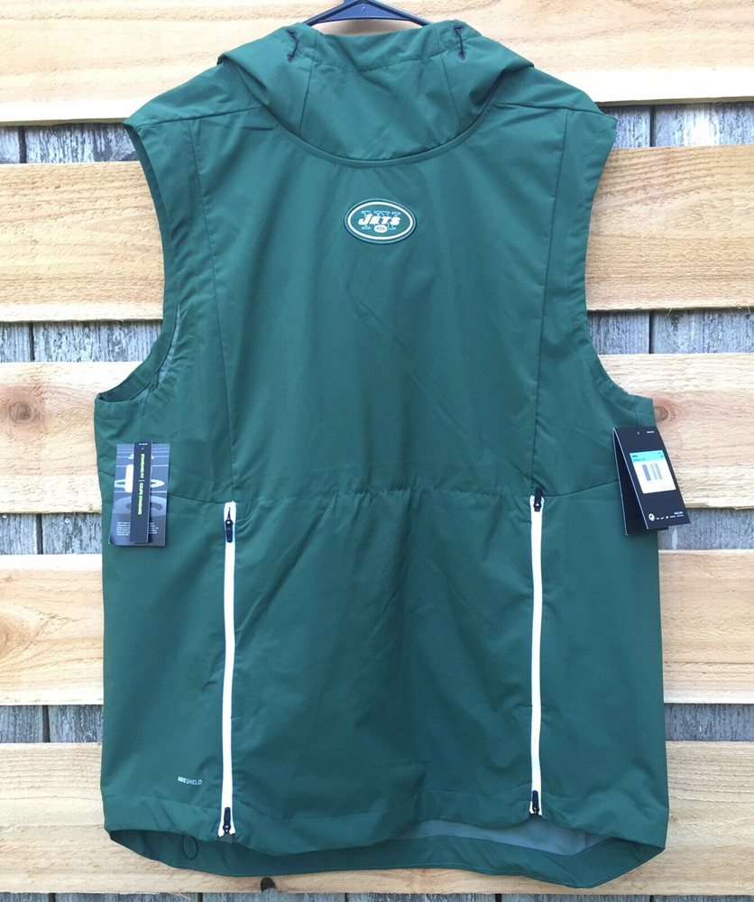 official photos 5eeac c0c1f Nike New York Jets Sideline Fly Rush Pullover Hooded Vest Mens Sz L  906404-323