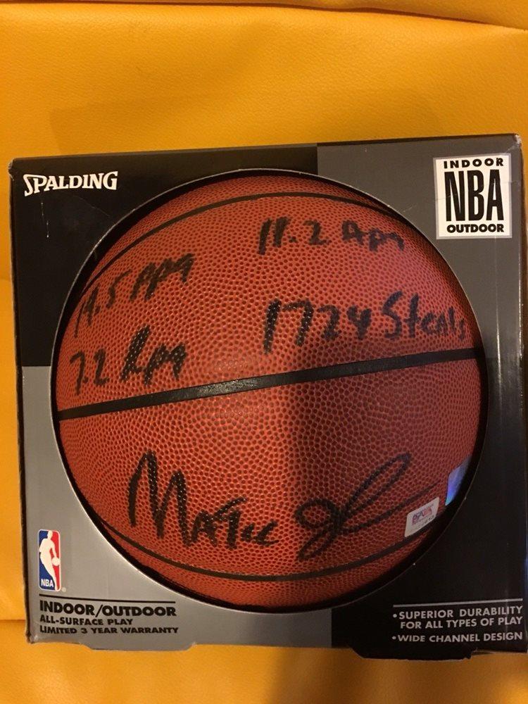 huge discount 0de56 522b2 Magic Johnson Signed autographed basketball with 4 Inscriptions PSA Lakers  NBA