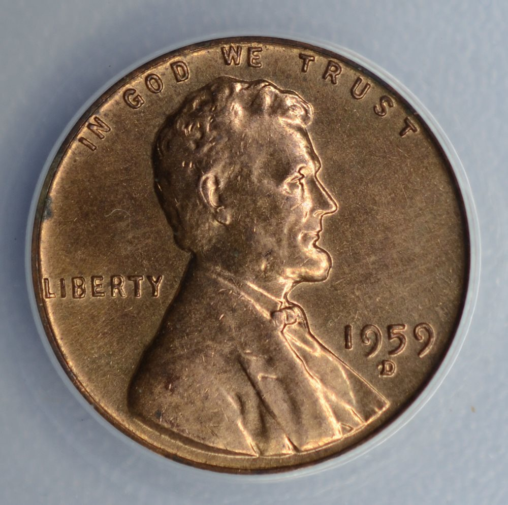 1c One Cent Penny 1959 D/D/D MS64 RB ANACS RPM#5 Lincoln Memorial Error