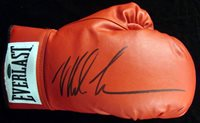 MIKE TYSON AUTOGRAPHED RED EVERLAST BOXING GLOVE RH TRISTAR STOCK #28537