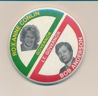 "1982 Roxanne Conlin for governor 3"" cello Iowa IA campaign button"