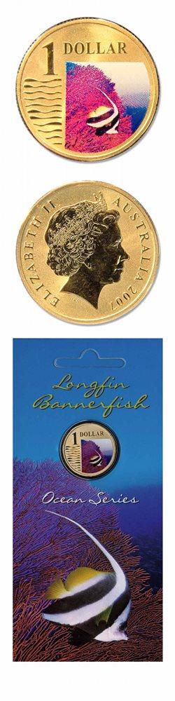 "$1 2007 Ocean Series /"" Longfin Bannerfish /"" Australian One Dollar Coin"