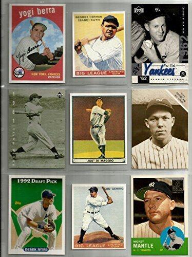 New York Yankees Superstar Reprint Baseball Card Lot 9 Babe Ruth 1933 Mickey Mantle 1963 Roger Maris Yogi Berra 1959 Lou Gehrig 1933 Derek Jeter Joe