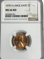 1970-S LARGE DATE NGC MS 66 RD LINCOLN CENT