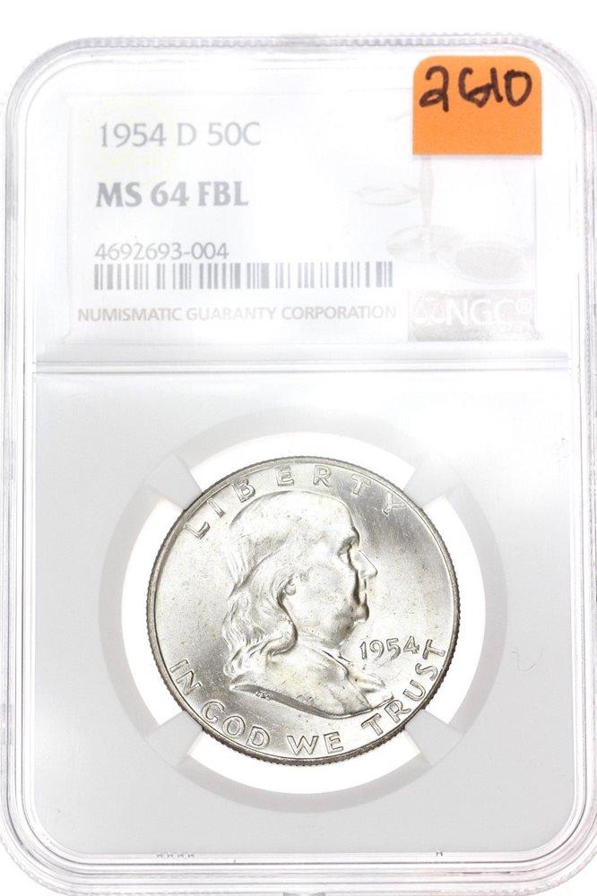 1954-D NGC MS 64 FULL BELL LINES Franklin Half Dollar!!#FA