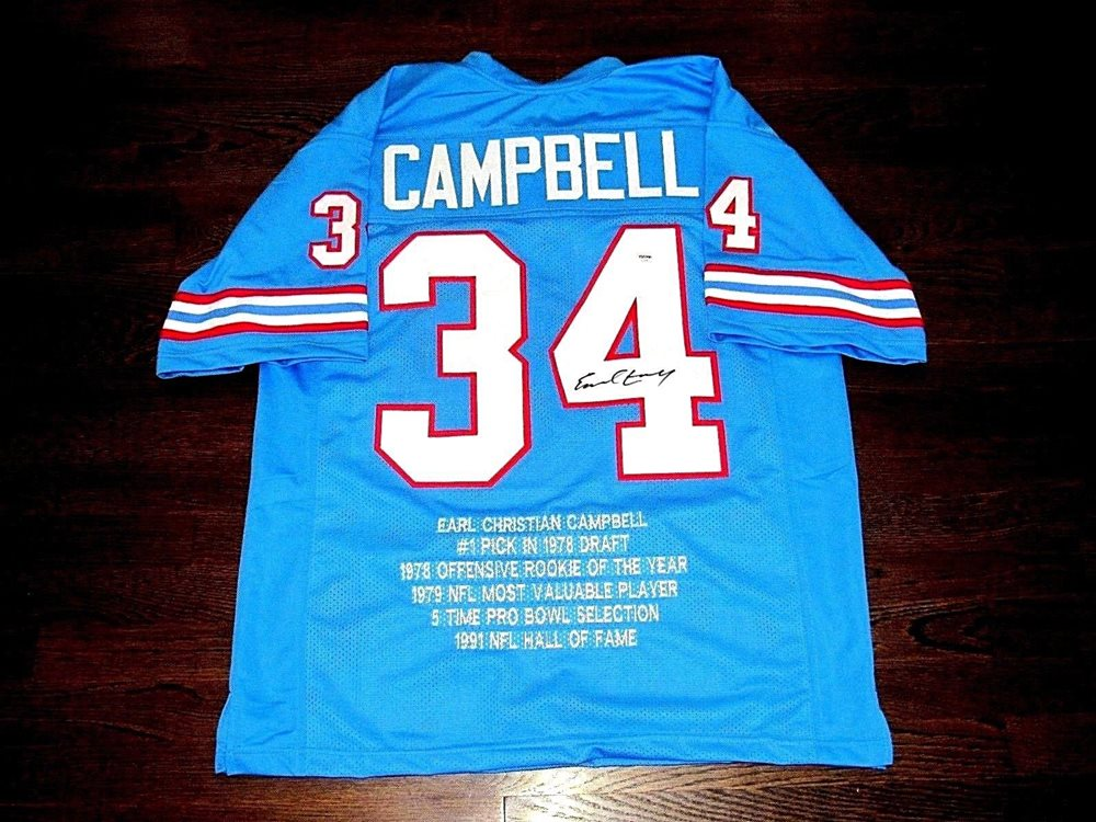 13b7aa005 EARL CAMPBELL HOUSTON OILERS HOF RB SIGNED AUTO CUSTOM