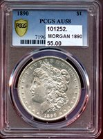 MORGAN 1890 $1 AU58 PCGS