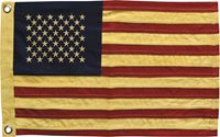 """American Flag Yellowed/Aged Look 28"""" X 17"""" Patriotic Stars and Stripes Americana"""