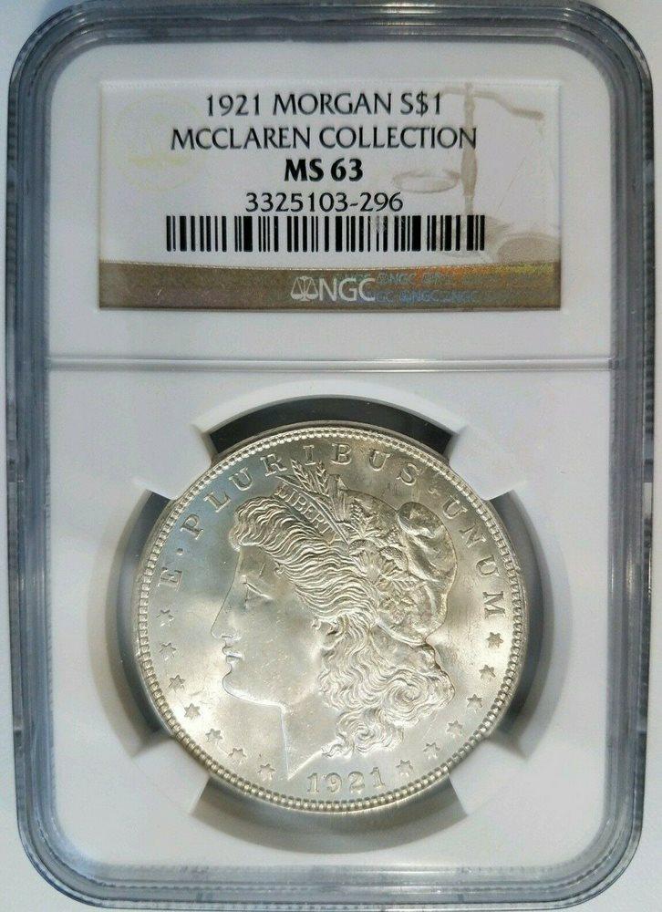 1921 US Morgan Silver Dollar $1 NGC MS63