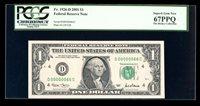 DBR 2001 $1 Serial 66 Binary 6/0 Superb Gem Fr. 1926-D PCGS 67 PPQ # D00000066C