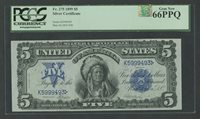 "FR275 $5 1899 S/C ""CHIEF"" NOTE PCGS 66 PPQ & PMA OUTSTANDING QUALITY WLM7727"