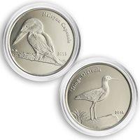 Shetland Islands, 1 pound, Tringa Glareola, bird, fauna, set of 2 coins, 2015