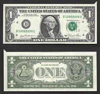 $1 1981 FRN CUTTING ERROR FANCY NUMBER D10002200C RETAILS $100 GEM