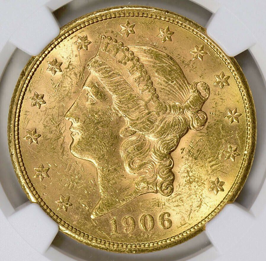 1906-S $20 Liberty Type 3 NGC MS60 Uncirculated Earthquake Year