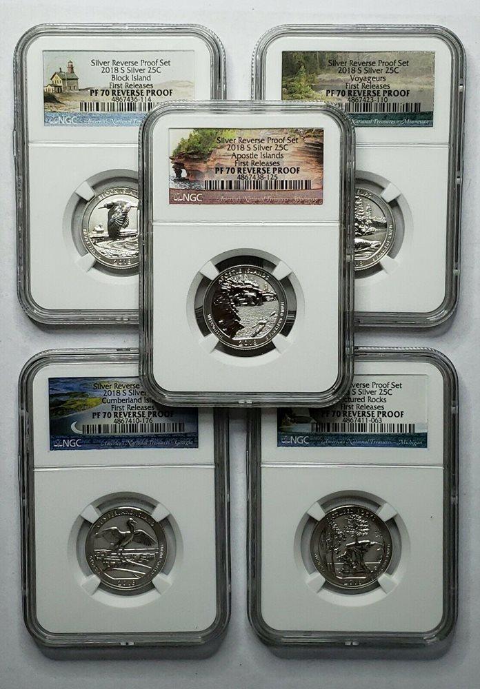 2018S Quarters SILVER ATB 25C 5 Coin REVERSE PROOF PF70 SET SKU C25