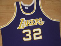 Vintage Los Angeles Lakers Magic Johnson Sand-Knit NBA Jersey M