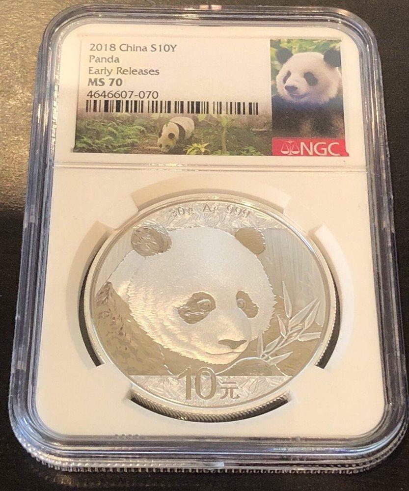 2018 China ¥10 Silver Panda PCGS MS70 Cheng Chao Signature 35th Anniv