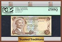 1/2 Dinar 1975-92 Jordan Pcgs 67 Ppq Superb Gem New Three Finer!!!