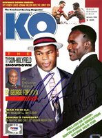 Evander Holyfield & Mike Tyson Autographed Magazine Cover To John PSA/DNA #S00459
