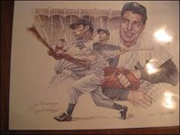 JOE DIMAGGIO (Baseball Hall of Fame) 1914-1999. 24x30 signed lithograph by well known sports artist, John Martin.   This signed lithograph is numbered and signed by both DiMaggio and Martin…650.00