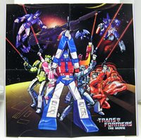 "1986 TRANSFORMERS THE MOVIE Poster (ANIMATED) 16.25""x16.25"" (TRFPO001)"