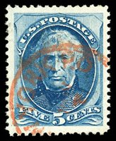 Lot 1455o 1875, 5¢ blue (Scott 179), red New York postmark, massive jumbo margins all around, Extremely Fine, with 2019 P.F. certificate. Scott $25. Estimate $200 - 300.
