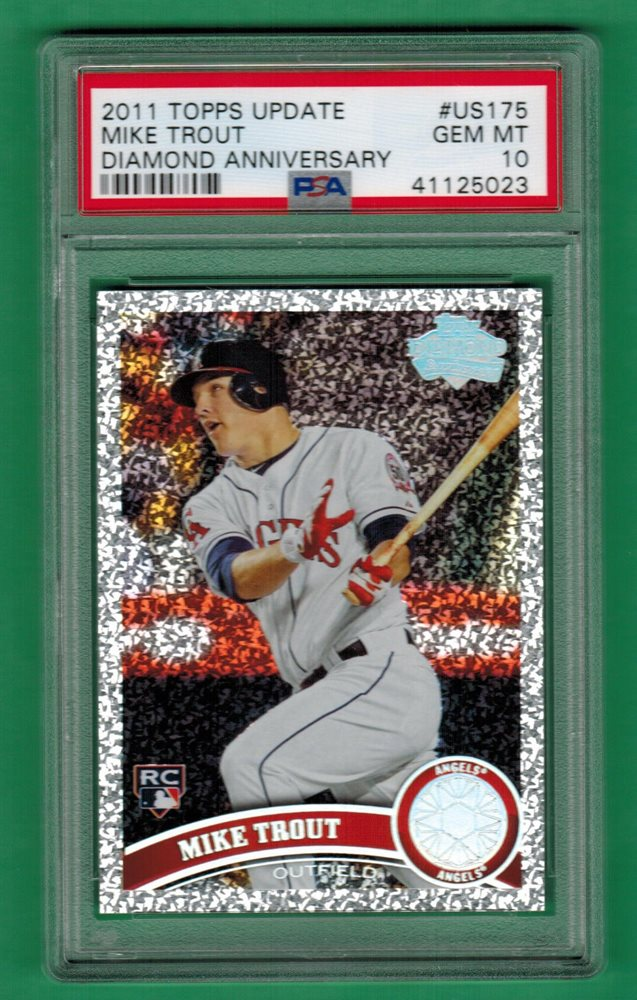 2011 Topps Update Mike Trout Diamond Anniversary Rookie Card Rc Psa 10 Us175