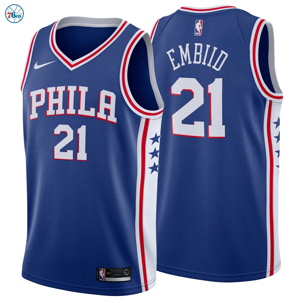 new products dff46 0786d Joel Embiid #21 Philadelphia 76ers Nike Swingman Jersey Icon Edition Blue  2018