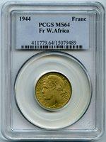 Afrique Occidentale Française 1 Franc 1944 PCGS MS 64 KM-2